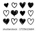 vector set of hand drawn hearts ... | Shutterstock .eps vector #1725613684