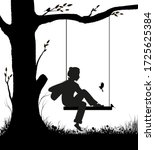 childhood memories  boy sitting ... | Shutterstock .eps vector #1725625384