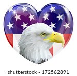 Eagle America love heart concept with and American bald eagle in front of a stars and stripes heart - stock photo