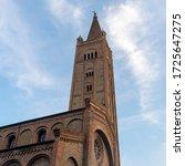 Historic Aurelio Saffi square in Forli, Emilia Romagna, Italy: facade of San Mercuriale