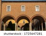 Historic Aurelio Saffi square in Forli, Emilia Romagna, Italy: external cloister of San Mercuriale