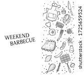 bbq and grill menu with sketch...   Shutterstock .eps vector #1725659524