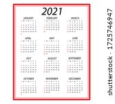 calendar 2021. simple minimal... | Shutterstock .eps vector #1725746947