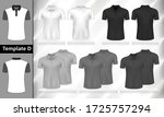 vector set of monochrome polo t ... | Shutterstock .eps vector #1725757294