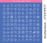 100 thin line icons for web and ...