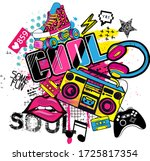 cool grunge print with tape... | Shutterstock .eps vector #1725817354