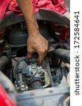 mechanic repairing motorbike... | Shutterstock . vector #172584641