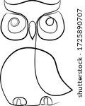 stylized owl drawn in one... | Shutterstock .eps vector #1725890707