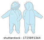long sleeve hooded jumpsuit... | Shutterstock .eps vector #1725891364