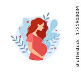happy pregnant woman holds her... | Shutterstock .eps vector #1725903034