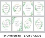green leaves geometric border.... | Shutterstock .eps vector #1725972301
