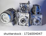 Small photo of Worm motor, electric motors, induction motor and equipment for bottling lines, industrial equipment for factories. Food industry