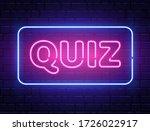 quiz neon text banner on brick... | Shutterstock .eps vector #1726022917