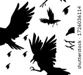 seamless pattern of black crows ... | Shutterstock .eps vector #1726036114