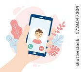 incoming video call. hand... | Shutterstock .eps vector #1726047304