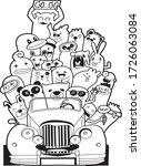 it's summer time doodle monster ...   Shutterstock .eps vector #1726063084