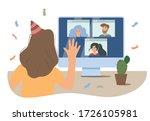 online party  online quarantine ... | Shutterstock .eps vector #1726105981