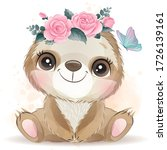 cute sloth with watercolor...   Shutterstock .eps vector #1726139161