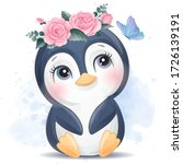 Cute Penguin With Watercolor...