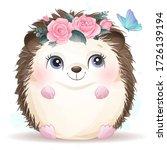 cute hedgehog with watercolor...   Shutterstock .eps vector #1726139194