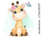 Cute Giraffe With Watercolor...
