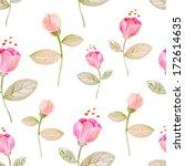 vintage watercolor flower... | Shutterstock .eps vector #172614635