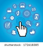 social network icons over blue... | Shutterstock .eps vector #172618385