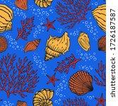 seamless pattern with seashells ...   Shutterstock .eps vector #1726187587