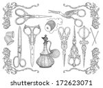 sewing tools set | Shutterstock . vector #172623071