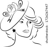 lady face with hat vector...