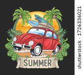 Summer Surfer And Car With...