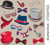 vector set hipster hats ... | Shutterstock .eps vector #172637321