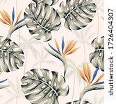 strelitzia flowers  monstera... | Shutterstock .eps vector #1726404307