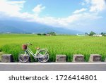 Small photo of A white bicycle stop beside green paddy fields and mountain view at Chishang Township, Taitung, Taiwan