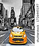 yellow taxi in black and white... | Shutterstock . vector #1726445197