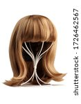 Small photo of Subject shot of a natural looking blonde wig with bangs and twisted strands fixed on the white metal wig holder. The stand with the wig is isolated on a white background.