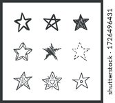 set of hand drawn stars. doodle ... | Shutterstock .eps vector #1726496431