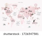 Pink World Map For Child Room...