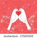 Lovebirds. Valentine's Day. Vector illustration - stock vector