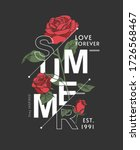 summer slogan with roses... | Shutterstock .eps vector #1726568467