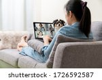 Small photo of Asian woman on sofa and team on laptop screen talking and discussion in video conference and dog interruption.Working from home, Working remotely, Pets interruption and Self-isolation.