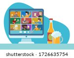 concept of online party with... | Shutterstock .eps vector #1726635754