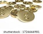 3d render of us dollar coins on ... | Shutterstock . vector #1726666981
