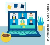 online conference with job... | Shutterstock .eps vector #1726672861