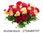 Orange And Red Roses In Vase...