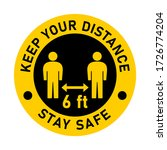 keep your distance 6 ft and... | Shutterstock .eps vector #1726774204