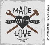 vintage label with hammer ... | Shutterstock .eps vector #172681631