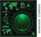 radar screen with world map.... | Shutterstock .eps vector #172685261