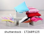plastic baskets with things in... | Shutterstock . vector #172689125