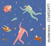 space adventure pattern with... | Shutterstock . vector #1726922977
